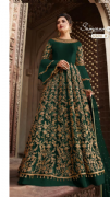 Flare Sleeve Green Embellished Gown
